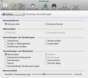 BaseCamp Routingeinstellung für OpenFietsMap